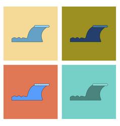 Assembly flat icons disaster tsunami vector