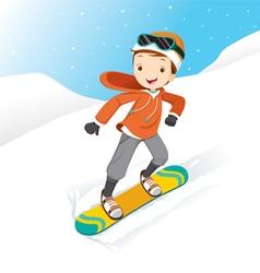 Boy Snowboarding vector image vector image