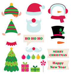 Christmas photo booth props vector