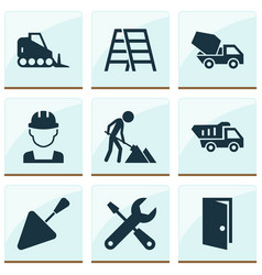 Construction icons set collection of stair vector