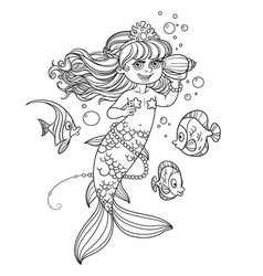 Cute little mermaid girl floats in water and vector