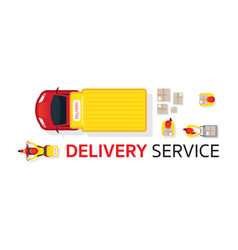 Delivery truck scooter motorcycle service vector