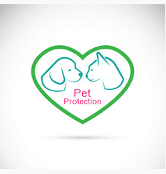 dog and cat in the heart on white background vector image vector image