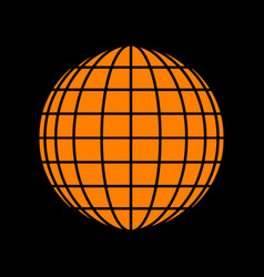 Earth globe sign orange icon on black background vector
