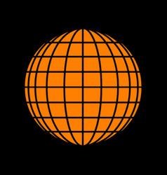 earth globe sign orange icon on black background vector image vector image