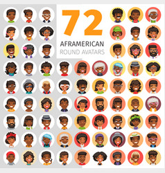 Flat african american round avatars vector