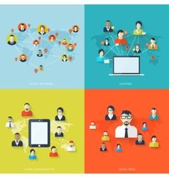 Flat set of social media backgrounds Social vector image