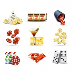 gambling and casino icons vector image