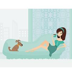 Girl on coffee break in home on sofa vector