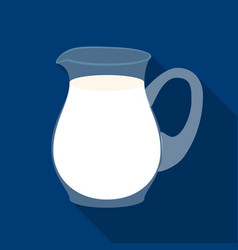 Glass jug of milk icon in flat style isolated on vector