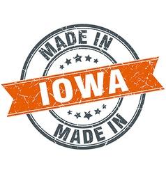 Iowa orange grunge ribbon stamp on white vector