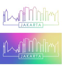 Jakarta skyline colorful linear style editable vector