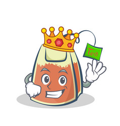 King tea bag character cartoon art vector