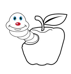 larva worm and apple cartoon coloring page for tod vector image