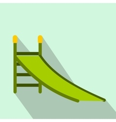 Playground green slide flat icon vector