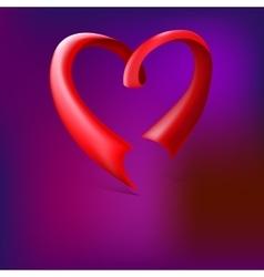Red glossy ribbon heart vector image