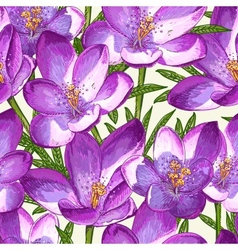 Seamless pattern with crocuses vector image