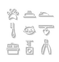 Set of pets flat icons cat symbols vector