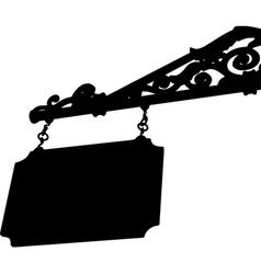 Silhouette old store front sign with elegant curls vector