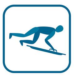 skeleton sportsman emblem vector image vector image