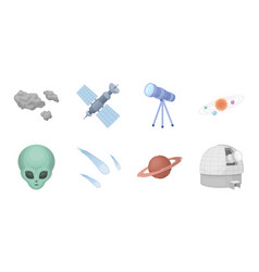 Space technology icons in set collection for vector