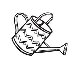 watering pot hand drawn sketch icon vector image vector image