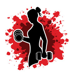 woman exercise with dumbbell graphic vector image vector image