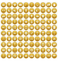 100 boxing icons set gold vector image vector image