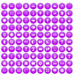 100 stadium icons set purple vector