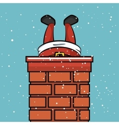 Santa claus chimney stuck snow design vector