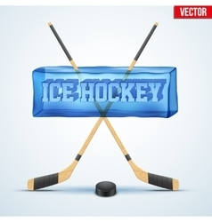 Frozen cube with cutting word ice hockey vector
