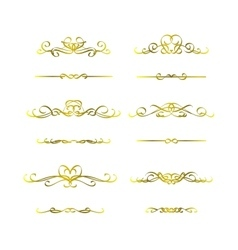 Calligraphic frame golden set vector
