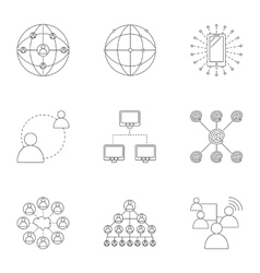 Internet icons set outline style vector