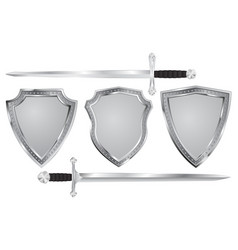 Metal shield with swords vector