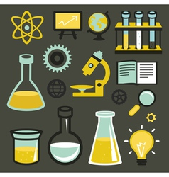 Flat icons and sign - science and education vector