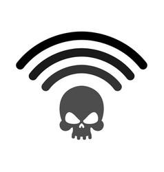 Wi-fi death wifi mortal wireless connection skull vector
