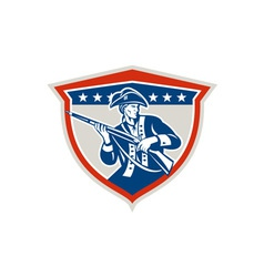 American patriot holding musket rifle shield retro vector