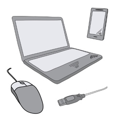 Sketch of notebook and mobile vector