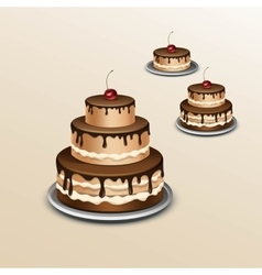 Birthday cake with cherry isolated on background vector