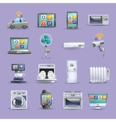 Internet of things flat icons set vector