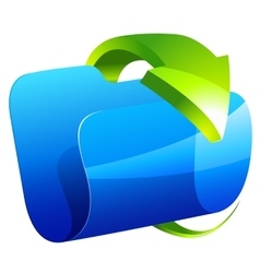 Blue folder icon with green arrow vector