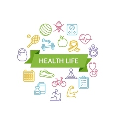 Health life fitness concept vector