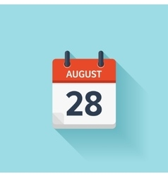 August 28 flat daily calendar icon date vector