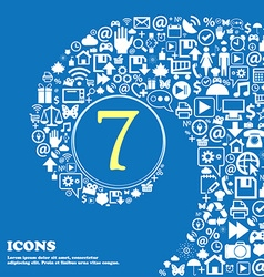 Number seven icon sign nice set of beautiful vector