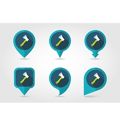Axe ax hatchet flat pin map icon vector