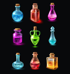 Bottles with potion set vector