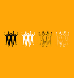 business people black and white set icon vector image vector image