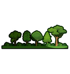 Cartoon forest tree bushes natural image shadow vector