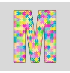 Color piece puzzle jigsaw letter - m vector