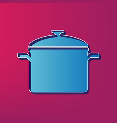 Cooking pan sign blue 3d printed icon on vector